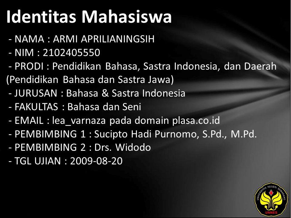 Identitas Mahasiswa - NAMA : ARMI APRILIANINGSIH - NIM : 2102405550 - PRODI : Pendidikan Bahasa, Sastra Indonesia, dan Daerah (Pendidikan Bahasa dan S