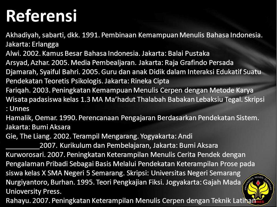 Referensi Akhadiyah, sabarti, dkk. 1991. Pembinaan Kemampuan Menulis Bahasa Indonesia. Jakarta: Erlangga Alwi. 2002. Kamus Besar Bahasa Indonesia. Jak