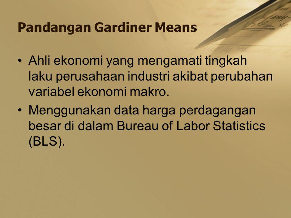 Pandangan Gardiner Means Ahli ekonomi yang mengamati tingkah laku perusahaan industri akibat perubahan variabel ekonomi makro. Menggunakan data harga