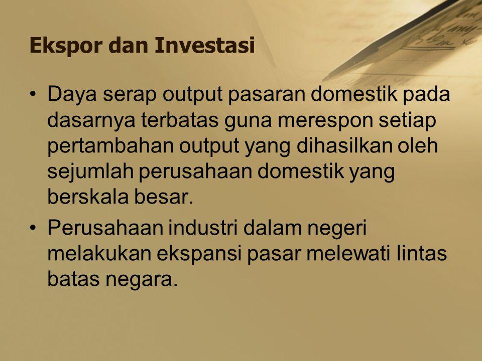 Ekspor dan Investasi Daya serap output pasaran domestik pada dasarnya terbatas guna merespon setiap pertambahan output yang dihasilkan oleh sejumlah p