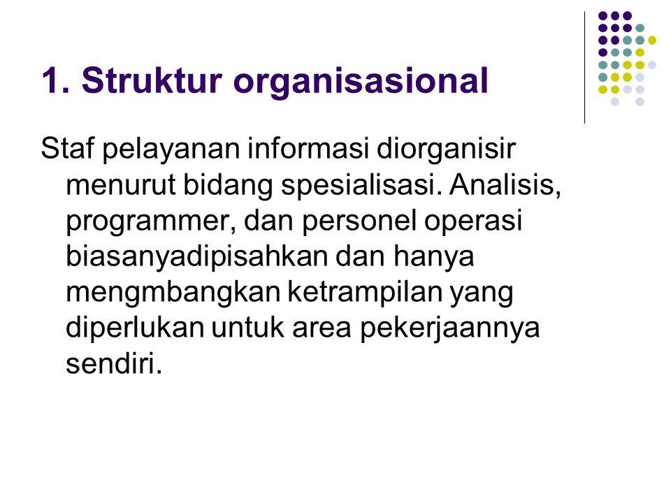 1.Struktur organisasional Staf pelayanan informasi diorganisir menurut bidang spesialisasi.