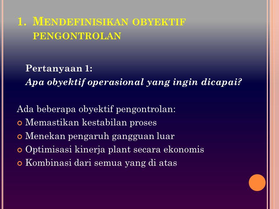 1.M ENDEFINISIKAN OBYEKTIF PENGONTROLAN Pertanyaan 1: Apa obyektif operasional yang ingin dicapai? Ada beberapa obyektif pengontrolan: Memastikan kest