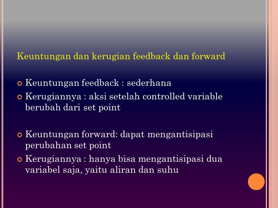 Keuntungan dan kerugian feedback dan forward Keuntungan feedback : sederhana Kerugiannya : aksi setelah controlled variable berubah dari set point Keuntungan forward: dapat mengantisipasi perubahan set point Kerugiannya : hanya bisa mengantisipasi dua variabel saja, yaitu aliran dan suhu