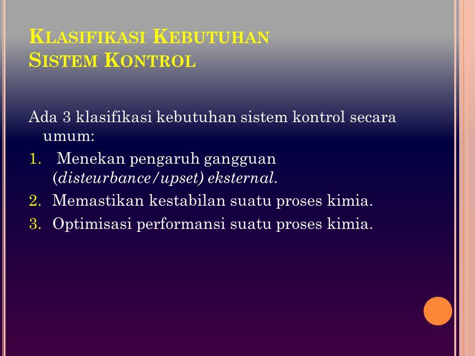 A SPEK - ASPEK D ISAIN S ISTEM K ONTROL Variabel (laju alir, suhu, tekanan, konsentrasi, dll) dalam proses dibagi menjadi 2 kelompok : Variabel masukan (input): manipulated (adjustable) variable disturbance: dapat diukur (measured): suhu masuk, laju alir masuk, dll tidak dapat diukur (unmeasured): komposisi umpan Variabel keluaran (output): dapat dikur (measured): suhu produk, laju alir produk, dll.