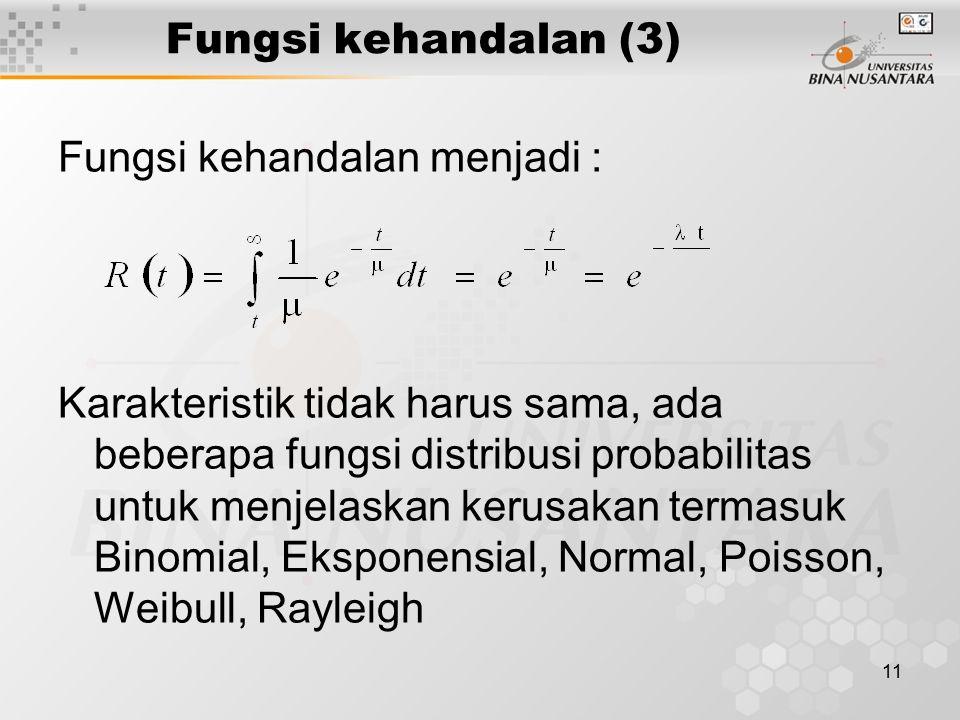 11 Fungsi kehandalan (3) Fungsi kehandalan menjadi : Karakteristik tidak harus sama, ada beberapa fungsi distribusi probabilitas untuk menjelaskan ker