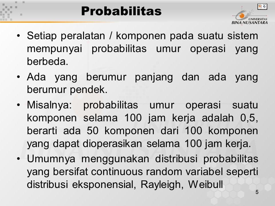 5 Probabilitas Setiap peralatan / komponen pada suatu sistem mempunyai probabilitas umur operasi yang berbeda. Ada yang berumur panjang dan ada yang b