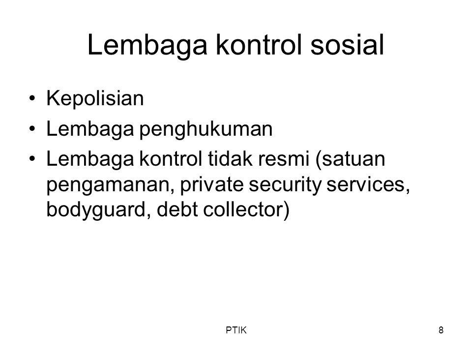 PTIK8 Lembaga kontrol sosial Kepolisian Lembaga penghukuman Lembaga kontrol tidak resmi (satuan pengamanan, private security services, bodyguard, debt