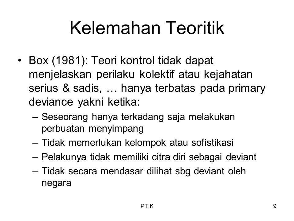 PTIK9 Kelemahan Teoritik Box (1981): Teori kontrol tidak dapat menjelaskan perilaku kolektif atau kejahatan serius & sadis, … hanya terbatas pada prim