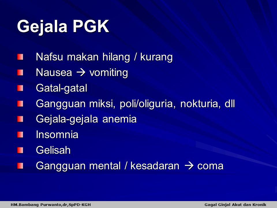 Gejala PGK Nafsu makan hilang / kurang Nausea  vomiting Gatal-gatal Gangguan miksi, poli/oliguria, nokturia, dll Gejala-gejala anemia InsomniaGelisah