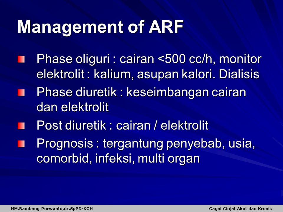 Management of ARF Phase oliguri : cairan <500 cc/h, monitor elektrolit : kalium, asupan kalori. Dialisis Phase diuretik : keseimbangan cairan dan elek