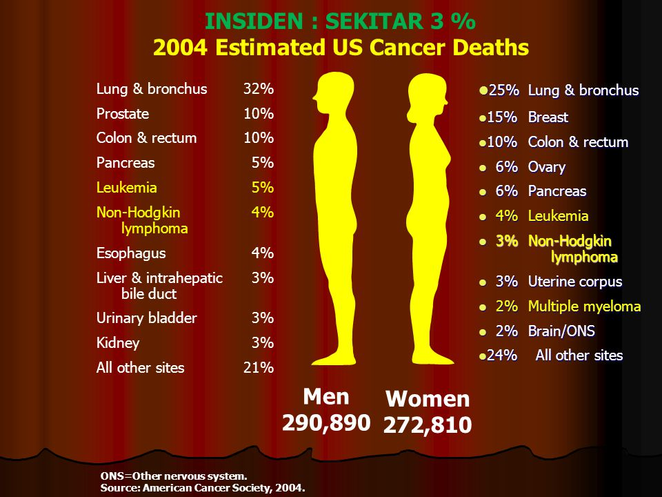 INSIDEN : SEKITAR 3 % 2004 Estimated US Cancer Deaths ONS=Other nervous system. Source: American Cancer Society, 2004. Men 290,890 Women 272,810 25%Lu