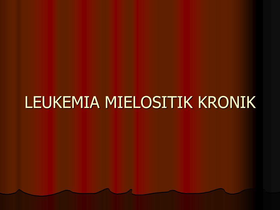 Myeloproliferative disorders Typical CML Typical CML  variant : chronic eosinophilic leukemia chronic basophilic leukemia chronic basophilic leukemia chronic neutrophilic leukemia chronic neutrophilic leukemia Idiophatic Myelofibrosis Idiophatic Myelofibrosis Polycythemia vera Polycythemia vera Essential thrombocytemia Essential thrombocytemia Chronic myelomonocytic leukemia Chronic myelomonocytic leukemia Atypical CML Atypical CML