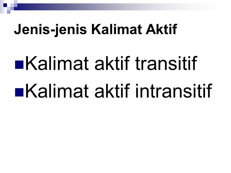 Jenis-jenis Kalimat Aktif Kalimat aktif transitif Kalimat aktif intransitif