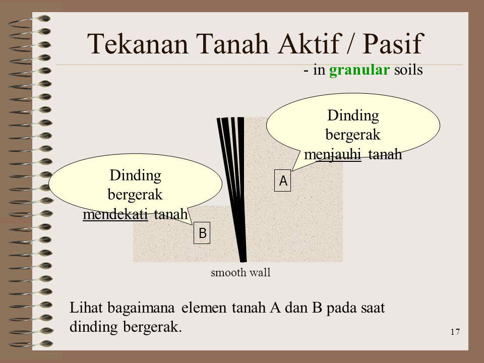 17 Tekanan Tanah Aktif / Pasif - in granular soils smooth wall Dinding bergerak menjauhi tanah Dinding bergerak mendekati tanah A B Lihat bagaimana el