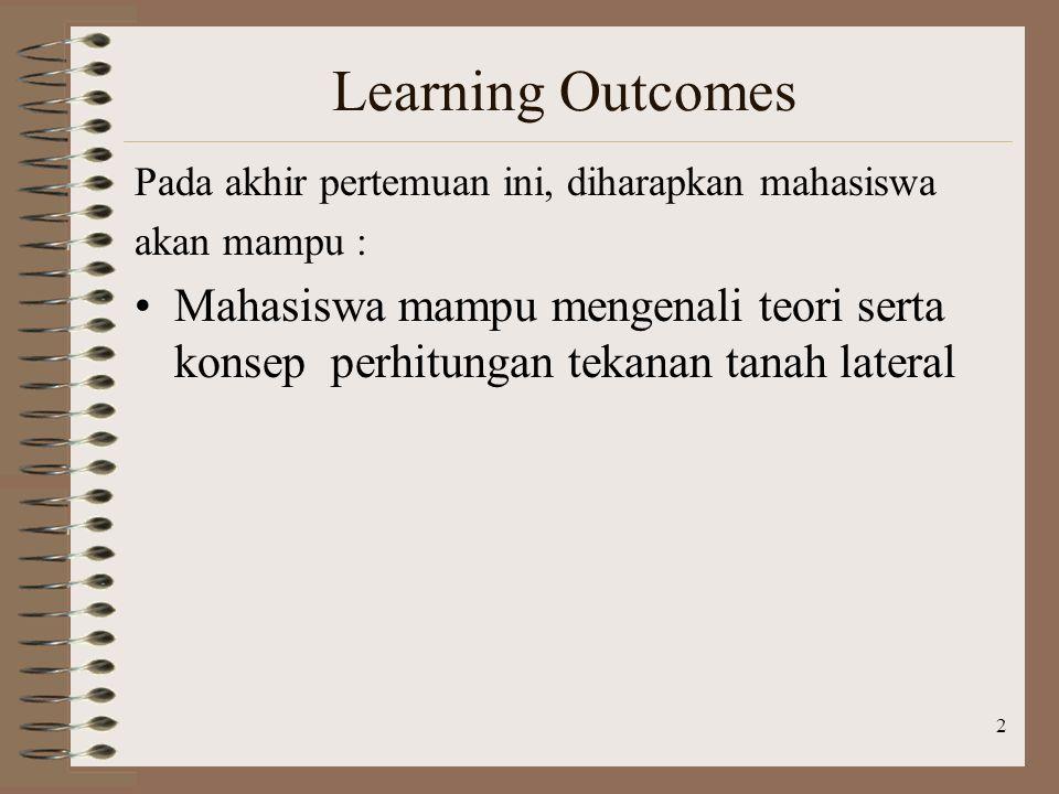 2 Learning Outcomes Pada akhir pertemuan ini, diharapkan mahasiswa akan mampu : Mahasiswa mampu mengenali teori serta konsep perhitungan tekanan tanah lateral