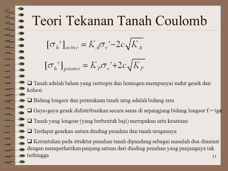 31 Teori Tekanan Tanah Coulomb  Tanah adalah bahan yang isotropis dan homogen mempunyai sudut gesek dan kohesi  Bidang longsor dan permukaan tanah u