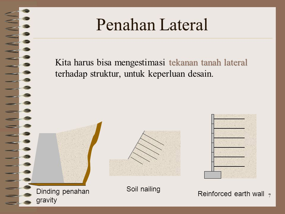7 Penahan Lateral Dinding penahan gravity Soil nailing Reinforced earth wall