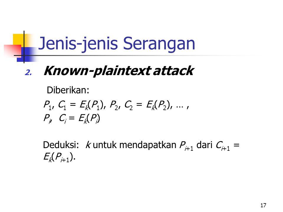 17 Jenis-jenis Serangan 2. Known-plaintext attack Diberikan: P 1, C 1 = E k (P 1 ), P 2, C 2 = E k (P 2 ), …, P i, C i = E k (P i ) Deduksi: k untuk m