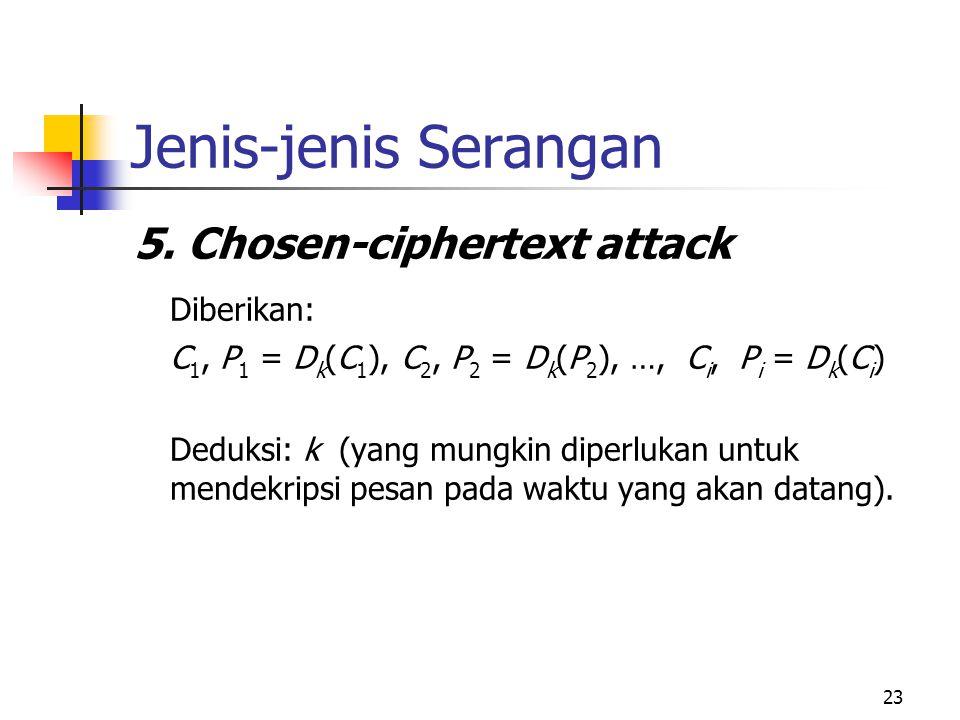23 Jenis-jenis Serangan 5. Chosen-ciphertext attack Diberikan: C 1, P 1 = D k (C 1 ), C 2, P 2 = D k (P 2 ), …, C i, P i = D k (C i ) Deduksi: k (yang