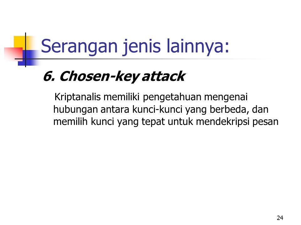 24 Serangan jenis lainnya: 6. Chosen-key attack Kriptanalis memiliki pengetahuan mengenai hubungan antara kunci-kunci yang berbeda, dan memilih kunci