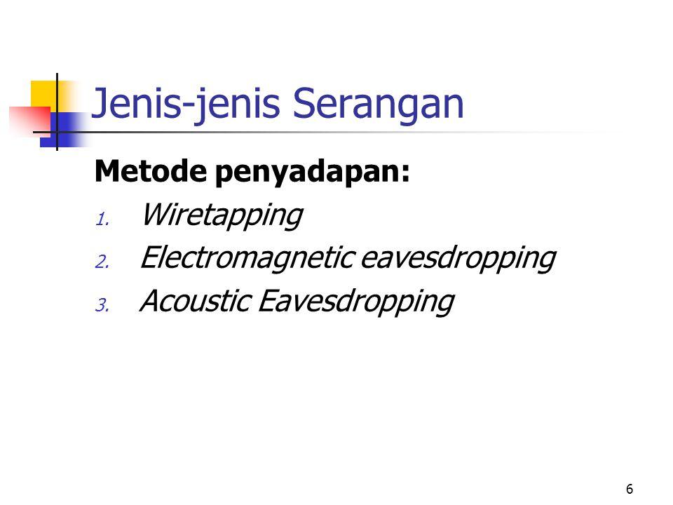 6 Jenis-jenis Serangan Metode penyadapan: 1. Wiretapping 2. Electromagnetic eavesdropping 3. Acoustic Eavesdropping