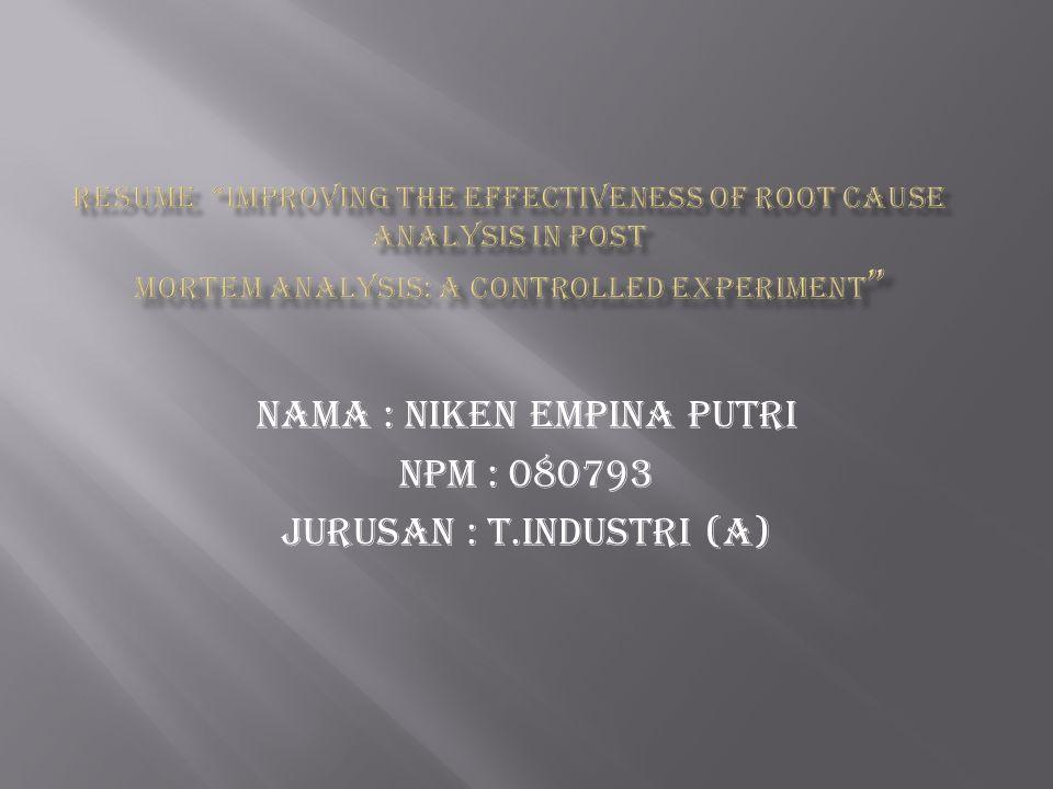 Nama : niken empina putri Npm : 080793 Jurusan : t.industri (A)