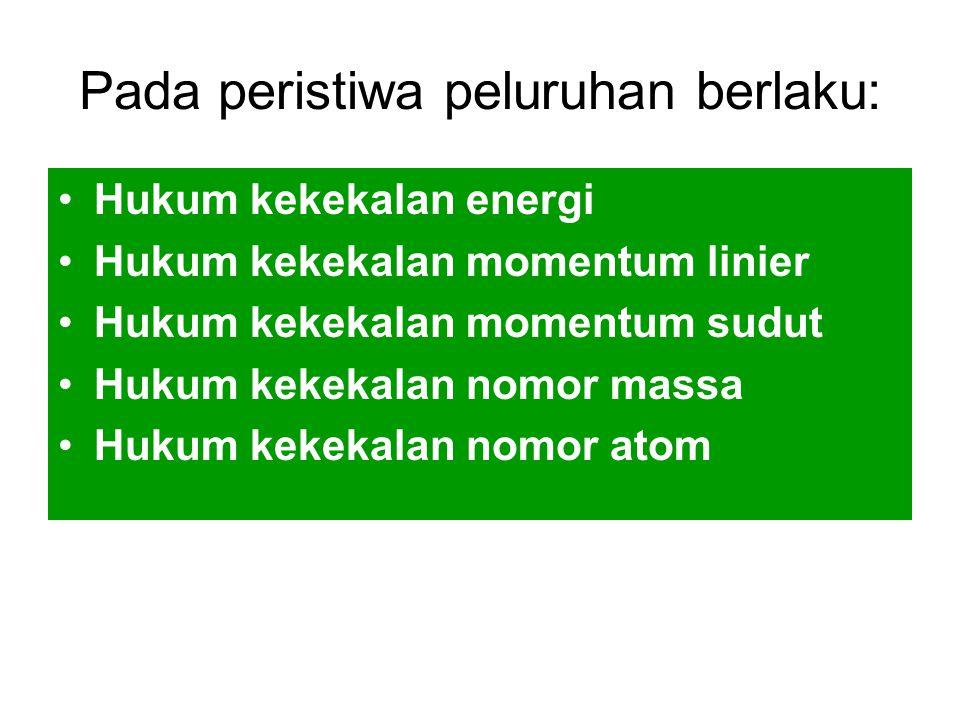 Pada peristiwa peluruhan berlaku: Hukum kekekalan energi Hukum kekekalan momentum linier Hukum kekekalan momentum sudut Hukum kekekalan nomor massa Hu