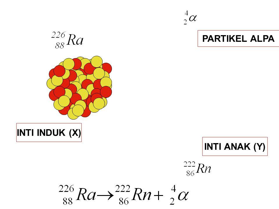 INTI INDUK (X) INTI ANAK (Y) PARTIKEL ALPA