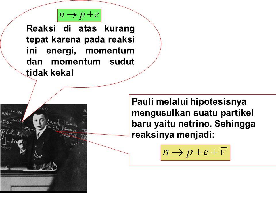 Reaksi di atas kurang tepat karena pada reaksi ini energi, momentum dan momentum sudut tidak kekal Pauli melalui hipotesisnya mengusulkan suatu partik