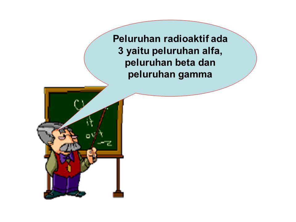 Peluruhan radioaktif ada 3 yaitu peluruhan alfa, peluruhan beta dan peluruhan gamma