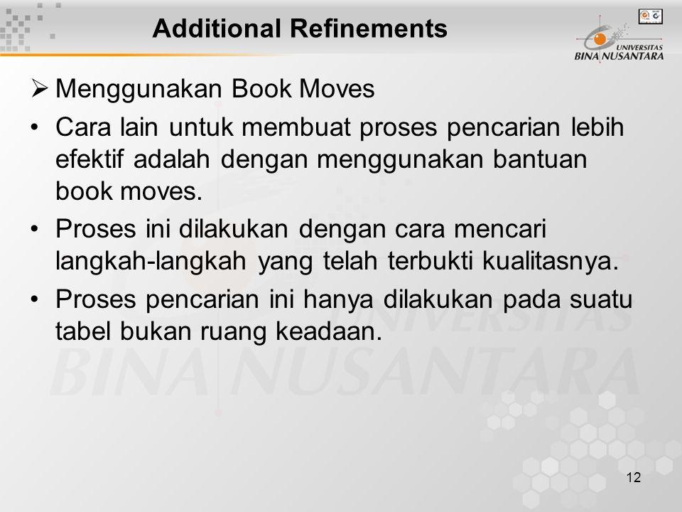 12 Additional Refinements  Menggunakan Book Moves Cara lain untuk membuat proses pencarian lebih efektif adalah dengan menggunakan bantuan book moves.
