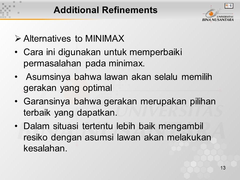 13 Additional Refinements  Alternatives to MINIMAX Cara ini digunakan untuk memperbaiki permasalahan pada minimax.