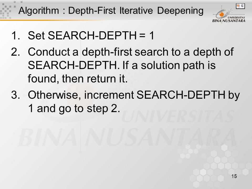 15 Algorithm : Depth-First Iterative Deepening 1.Set SEARCH-DEPTH = 1 2.Conduct a depth-first search to a depth of SEARCH-DEPTH.