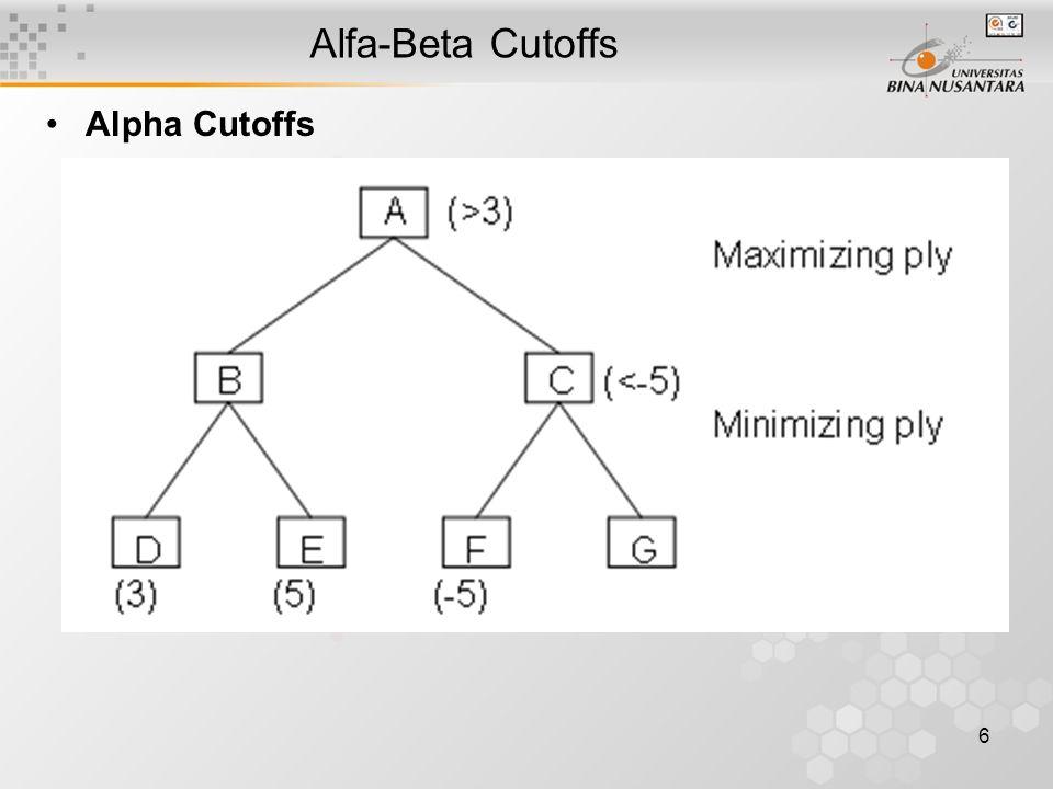 7 Alfa-Beta Cutoffs Pada pohon pencarian, nilai  diset -  dan nilai  diset .