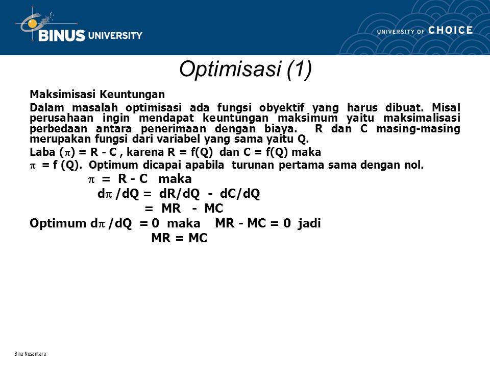 Bina Nusantara Optimisasi (1) Maksimisasi Keuntungan Dalam masalah optimisasi ada fungsi obyektif yang harus dibuat. Misal perusahaan ingin mendapat k