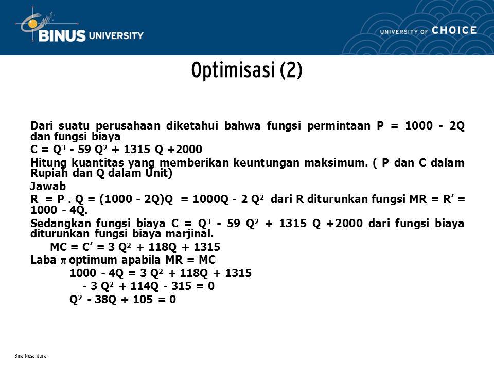 Bina Nusantara Dari suatu perusahaan diketahui bahwa fungsi permintaan P = 1000 - 2Q dan fungsi biaya C = Q 3 - 59 Q 2 + 1315 Q +2000 Hitung kuantitas yang memberikan keuntungan maksimum.