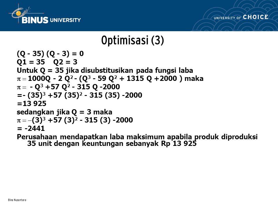 Bina Nusantara (Q - 35) (Q - 3) = 0 Q1 = 35 Q2 = 3 Untuk Q = 35 jika disubstitusikan pada fungsi laba  1000Q - 2 Q 2 - (Q 3 - 59 Q 2 + 1315 Q +200