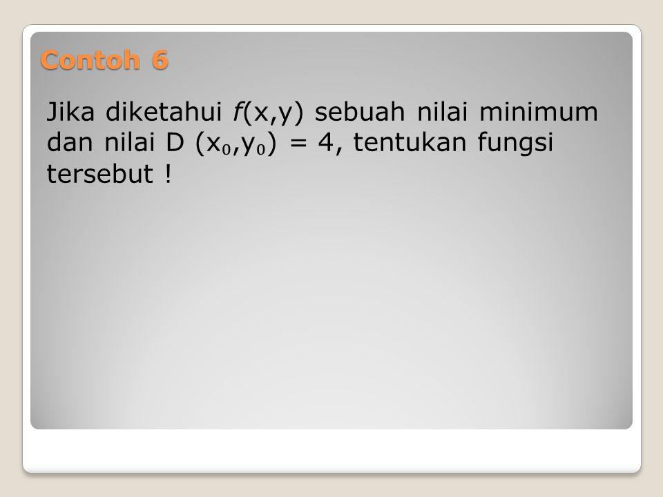 Contoh 6 Jika diketahui f(x,y) sebuah nilai minimum dan nilai D (x ₀,y ₀ ) = 4, tentukan fungsi tersebut !