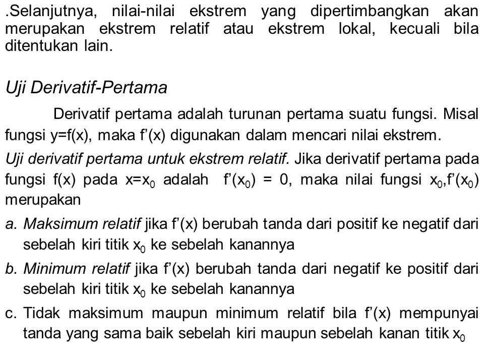 Syarat Orde Kedua d 2 z = d (dz) = f11 dx1 2 dx1 + f12 dx1 dx2 + f13 dx1 dx3 + f21 dx2 dx1 + f22 dx + f 23 dx 2 dx 3 + f 31 dx 3 dx 1 + f 32 dx 3 dx 2 + f 33 dx =|H| yang minor utamanya bisa dinyatakan sbb |H 1 | = f 11 |H 2 | = |H 3 | = |H| Jadi, berdasarkan criteria determinan untuk kedefinitan p[ositif dan negative, kita dapat menyatakan syarat cukup orde kedua untuk suatu titik ekstrem dari z sebagai berikut Z* adalah suatu bila d 2 z definit negative atau d 2 z definit positif