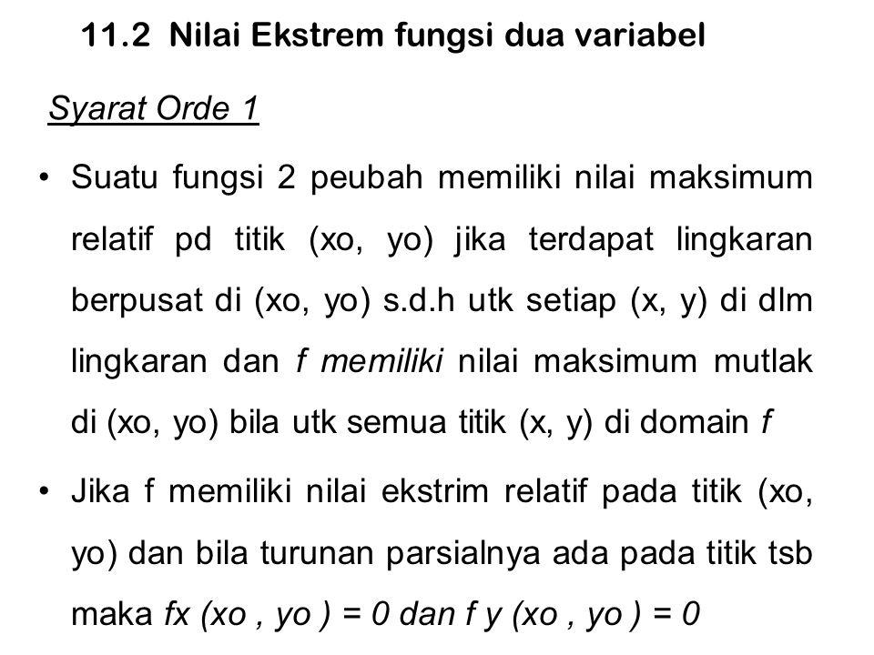 Syarat Orde 2 Misal f fungsi 2 peubah dg turunan parsial orde 2 kontinu dalam beberapa lingkaran pada titik kritis (xo, yo) dan misalkan D = f xx (xo, yo ) f yy (xo, yo )− f xy 2 (xo, yo ) a.