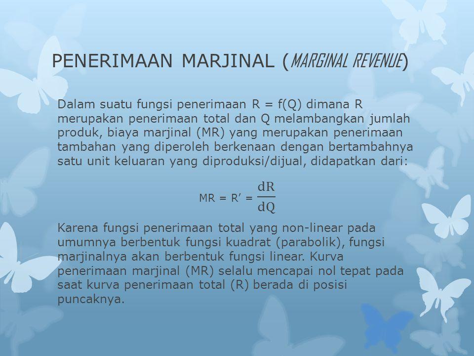 PENERIMAAN MARJINAL ( MARGINAL REVENUE )