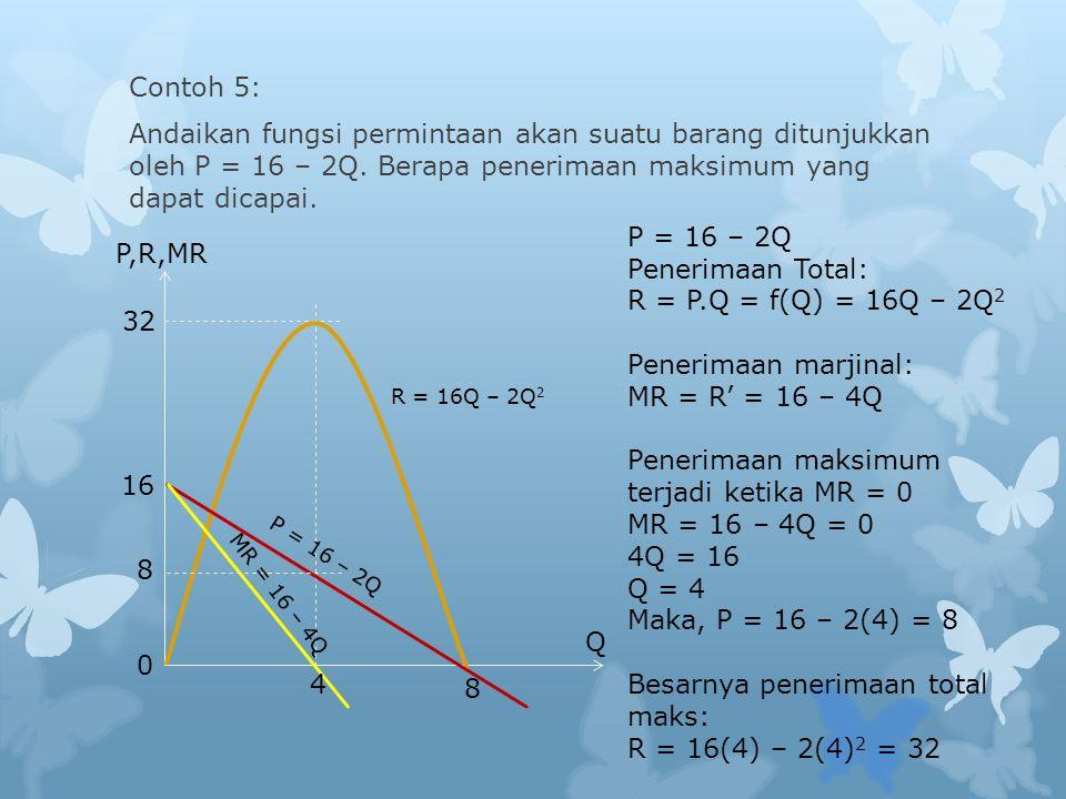 Contoh 5: Andaikan fungsi permintaan akan suatu barang ditunjukkan oleh P = 16 – 2Q.