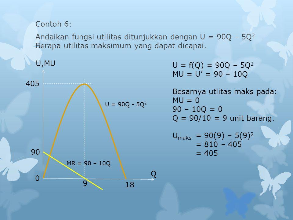 405 90 0 9 18 MR = 90 – 10Q U = 90Q - 5Q 2 U,MU Q Contoh 6: Andaikan fungsi utilitas ditunjukkan dengan U = 90Q – 5Q 2 Berapa utilitas maksimum yang dapat dicapai.