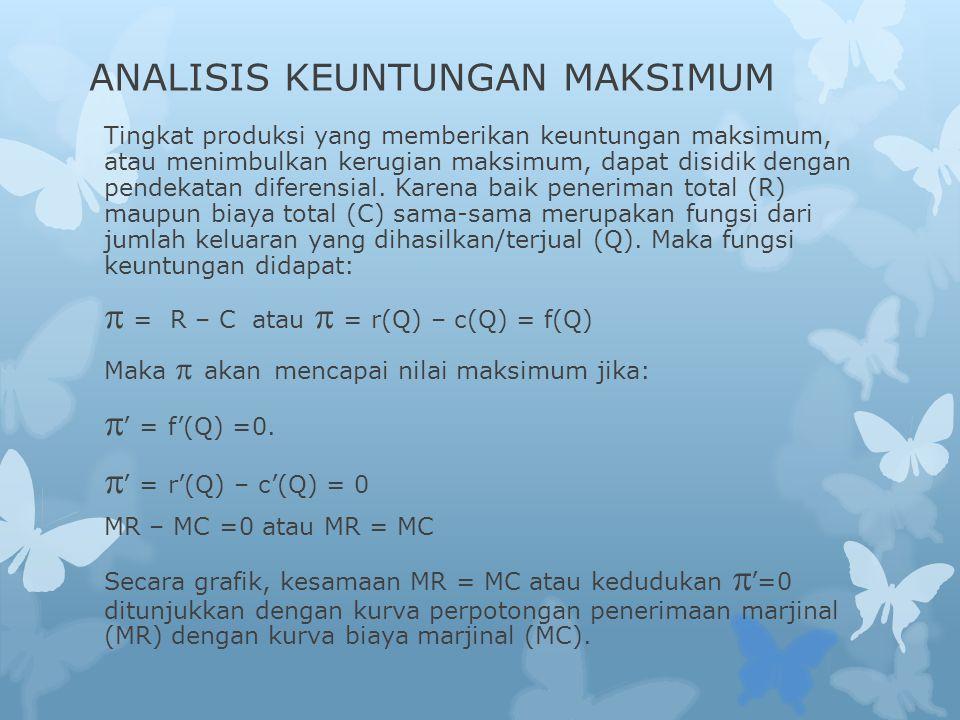 ANALISIS KEUNTUNGAN MAKSIMUM Tingkat produksi yang memberikan keuntungan maksimum, atau menimbulkan kerugian maksimum, dapat disidik dengan pendekatan diferensial.