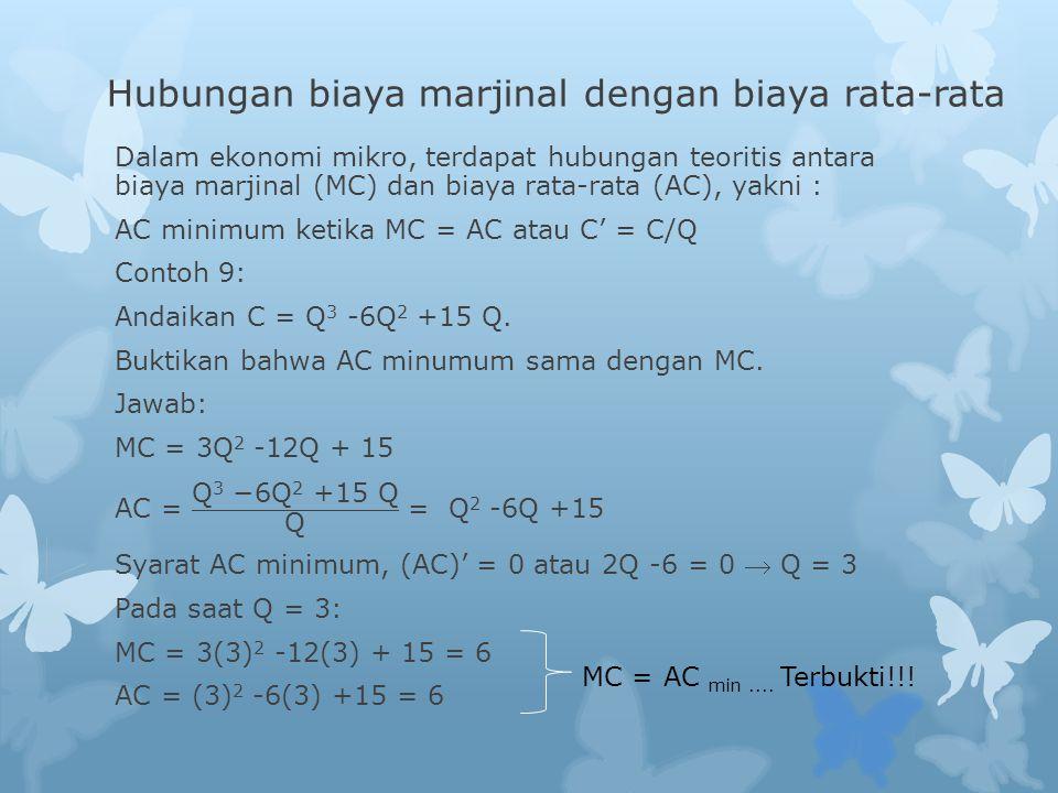 Hubungan biaya marjinal dengan biaya rata-rata MC = AC min.... Terbukti!!!