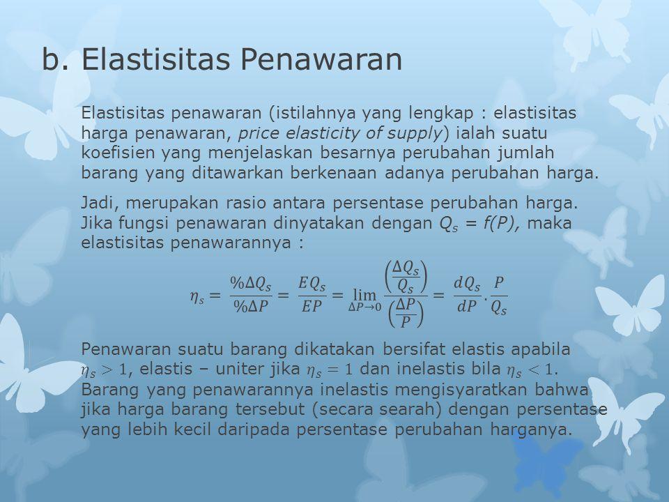 b. Elastisitas Penawaran