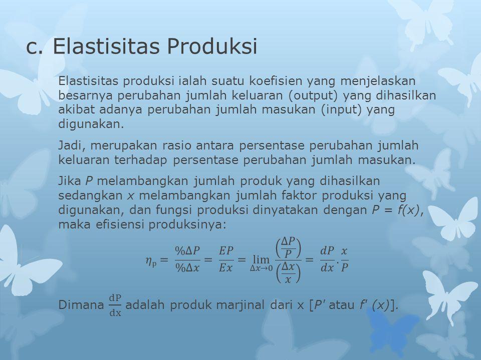 c. Elastisitas Produksi