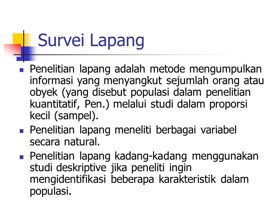 Survei Lapang Penelitian lapang adalah metode mengumpulkan informasi yang menyangkut sejumlah orang atau obyek (yang disebut populasi dalam penelitian