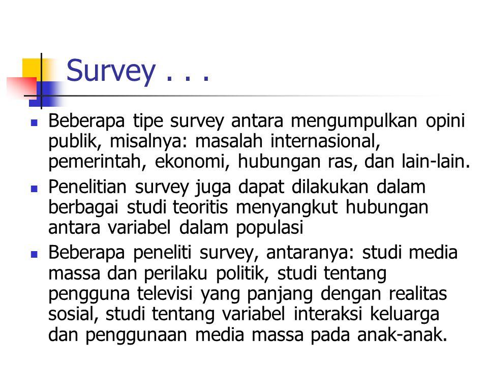 Survey... Beberapa tipe survey antara mengumpulkan opini publik, misalnya: masalah internasional, pemerintah, ekonomi, hubungan ras, dan lain-lain. Pe