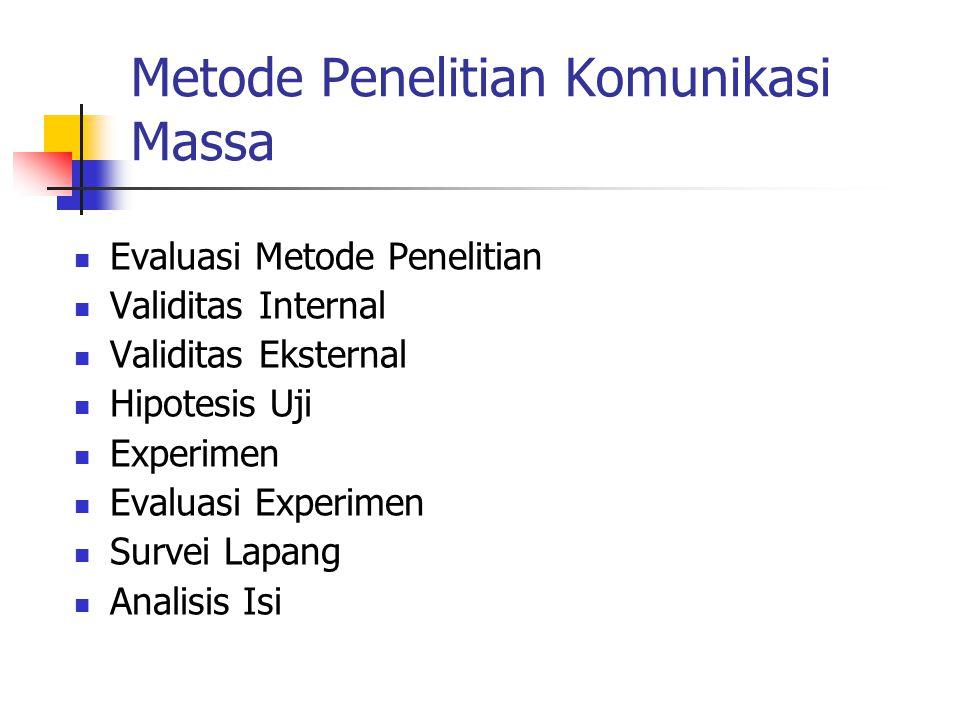 Metode Penelitian Komunikasi Massa Evaluasi Metode Penelitian Validitas Internal Validitas Eksternal Hipotesis Uji Experimen Evaluasi Experimen Survei